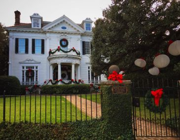 Christmas decorations on a St. Charles mansion in New Orleans