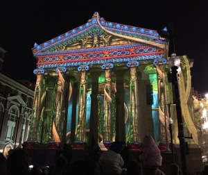 Gallier Hall with light show in New Orleans, Luna Fete 2016.