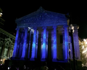 Gallier Hall as a starry sky and galaxy in New Orleans.