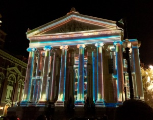 Gallier Hall light show in New Orleans.