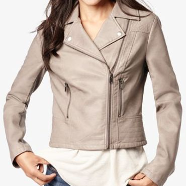 Macy's Grey Faux Leather Moto Jacket