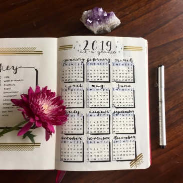 2019 Bullet Journal Spreads and Collections and Ideas Easy Beginner at a glance calendar